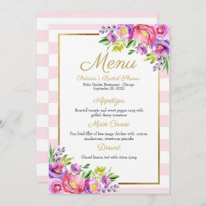 Pink & Faux Foil Gold Floral Bridal Shower Menu Invitation starting at 2.35