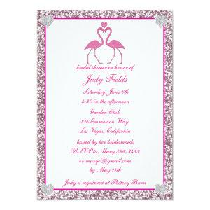 Pink Faux Glitter Flamingo Bridal Shower Invite starting at 2.66