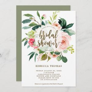 pink floral and greenery bridal shower invitation starting at 2.56