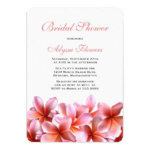 Pink Floral Bridal Shower Tropical Plumeria Invitation starting at 2.80