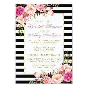 Pink Floral Gold Striped Bridal Shower Invite P starting at 2.51