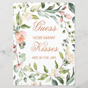 Pink floral, greenery Guess How Many Kisses Game Invitation starting at 2.70