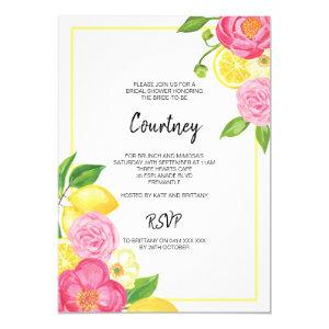 Pink Floral Lemon Bridal Shower Party Invitation starting at 2.40