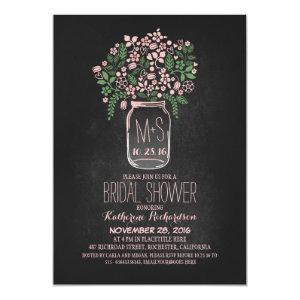 pink floral mason jar chalkboard bridal shower invitation starting at 2.66