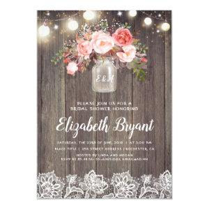 Pink Floral Mason Jar Rustic Lace Bridal Shower Invitation starting at 2.40