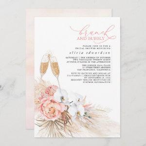 Pink Floral Pampas Grass Brunch and Bubbly Invitation starting at 2.51