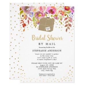 Pink Floral + shipping box Bridal Shower by mail Invitation starting at 2.15