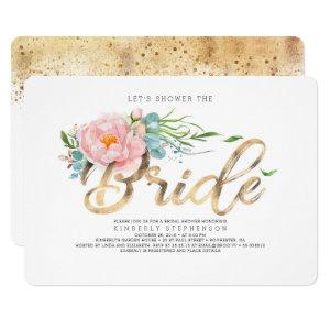Pink Flowers and Gold Glitter Modern Bridal Shower Invitation starting at 2.35