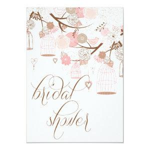 Pink Flowers & Birdcages Bridal Shower Invitations starting at 2.51
