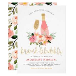 Pink Flowers & Gold Brunch & Bubbly Bridal Shower Invitation starting at 2.25