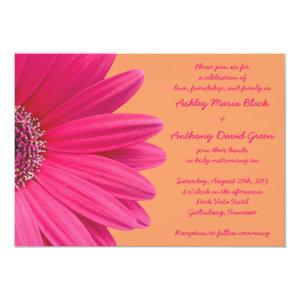 Pink Gerbera Daisy with Orange Wedding Invitation starting at 2.66