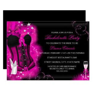 Pink Glam Feather Corset Bachelorette Party Invite starting at 2.55