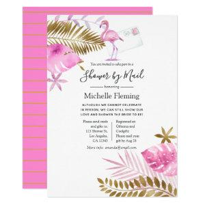 Pink & Gold Flamingo Bridal or Baby Shower by Mail Invitation starting at 2.55
