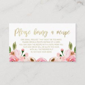 Pink Gold Floral Bridal Shower Recipe Card Request starting at 22.15