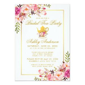 Pink Gold Floral Bridal Shower Tea Party Invite starting at 2.51