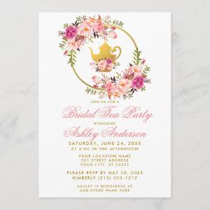 Pink Gold Floral Bridal Shower Tea Party Invite GP starting at 2.51