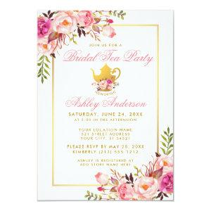 Pink Gold Floral Bridal Shower Tea Party Invite P starting at 2.51