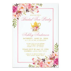 Pink Gold Floral Bridal Shower Tea Party Invite PS starting at 2.51