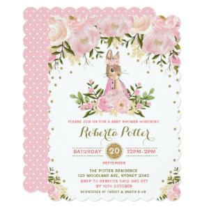 Pink Gold Floral Bunny Rabbit Baby Shower Invite starting at 2.81