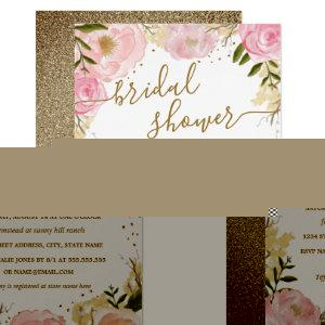 Pink Gold Floral Rose Watercolor Bridal Shower Invitation starting at 2.15