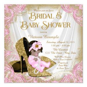 Pink Gold Glitter Shoe Pearl Bridal Baby Shower Invitation starting at 2.40