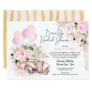 Pink Gold Roses Retro Car Drive By Bridal Shower Invitation starting at 2.61