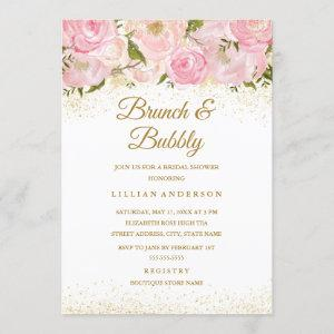 Pink Gold Sparkle Rose Brunch And Bubbly Shower Invitation starting at 2.55