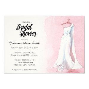 Pink Gown Watercolor Bridal Shower Invitation starting at 2.85