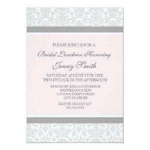 Pink Gray Damask Bridal Lunch Invitation Cards starting at 2.61