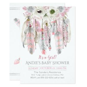 Pink Gray Dream Catcher Floral Feathers Arrows Invitation starting at 2.66