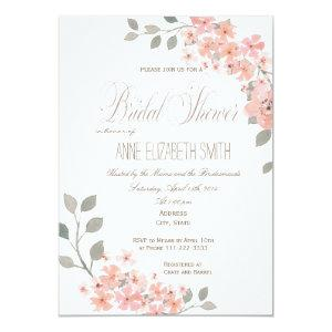 Pink & Gray floral Bridal Shower Invitation starting at 2.35