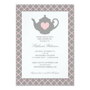 Pink + Gray Quatrefoil Baby Shower Tea Party Invitation starting at 2.51