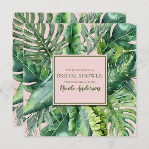 Pink & Green Tropical Leaves Bridal Shower Invitation starting at 2.40