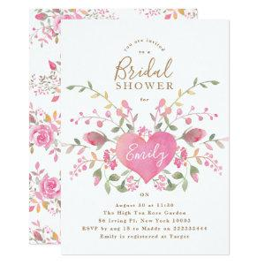 Pink Heart and Flowers Bridal Shower Invitation starting at 2.61