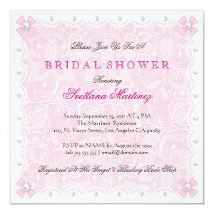 Pink Lace & White Pearls Bridal Shower  Invite starting at 2.51