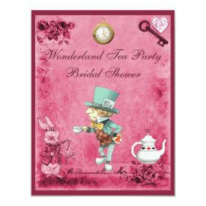 Pink Mad Hatter Wonderland Tea Party Bridal Shower Invitation starting at 2.31