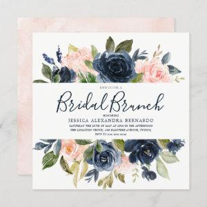 Pink & Navy Blue Watercolor Flowers Bridal Shower Invitation starting at 2.40