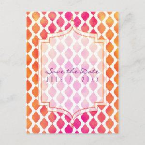 Pink & Orange Arabian Moroccan Theme Save the Date Announcement Postcard starting at 2.02