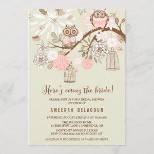 Pink Owls and Birdcages Bridal Shower Invitation starting at 2.51