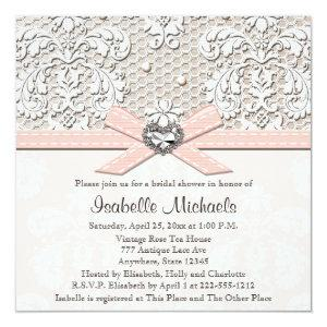 Pink Pearl Lace Diamond Bridal Shower Invitations starting at 2.51