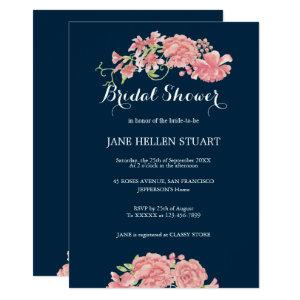 Pink peonies navy blue floral bridal shower invitation starting at 2.66