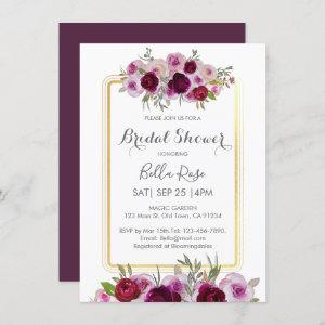 Pink Plum Faux Gold Floral Bridal Shower Invitation starting at 2.20