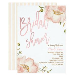 Pink Rose Gold Floral Modern Elegant Bridal Shower Invitation starting at 2.51