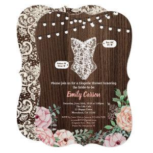 Pink Rose lingerie shower invitation rustic wood starting at 2.50