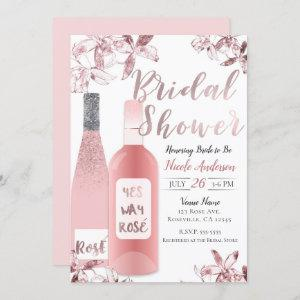 Pink Rosè Wine & Orchid Flowers Bridal Shower Invitation starting at 2.55