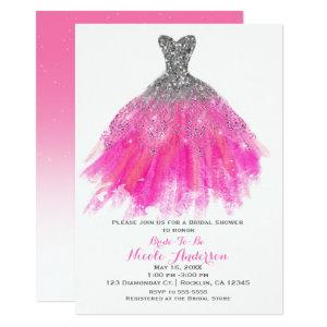Pink & Silver Glitter Glam Dress Bridal Shower Invitation starting at 2.56