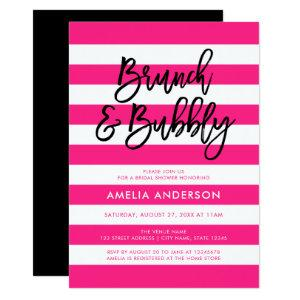 Pink Stripes Black Brunch & Bubbly Bridal Shower Invitation starting at 2.51