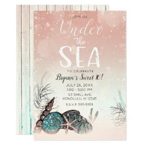 Pink Under the Sea Shells Beach Sweet 16 Party Invitation starting at 2.70