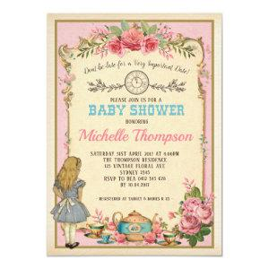 Pink Vintage Alice in Wonderland Tea Party Invite starting at 2.21