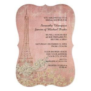 Pink Vintage Paris Parisian Stylish Bridal Shower Invitation starting at 2.91